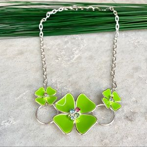Flower floral statement necklace, green silver